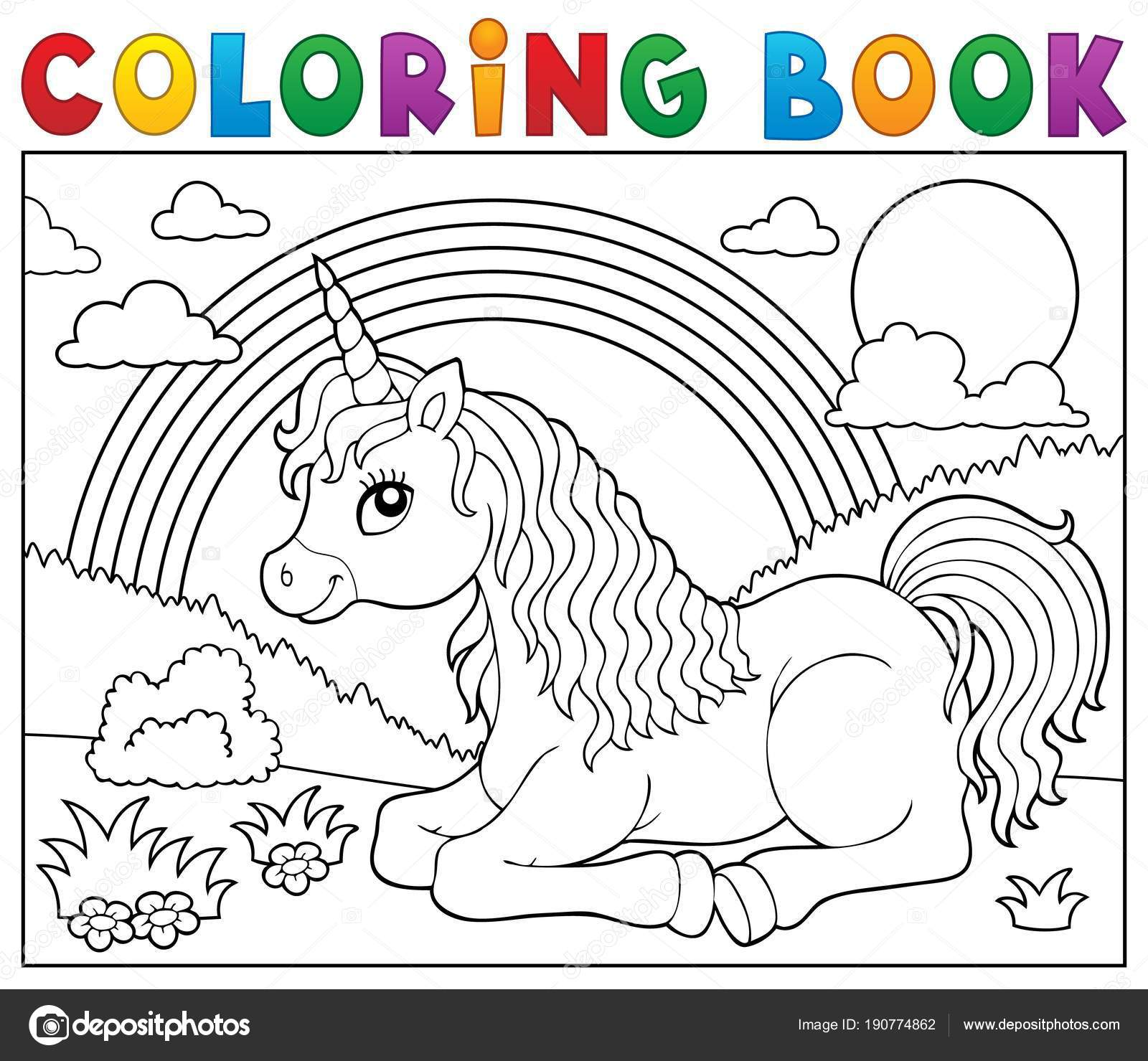 Coloring Book Lying Unicorn Theme 2 Stock Vector C Clairev