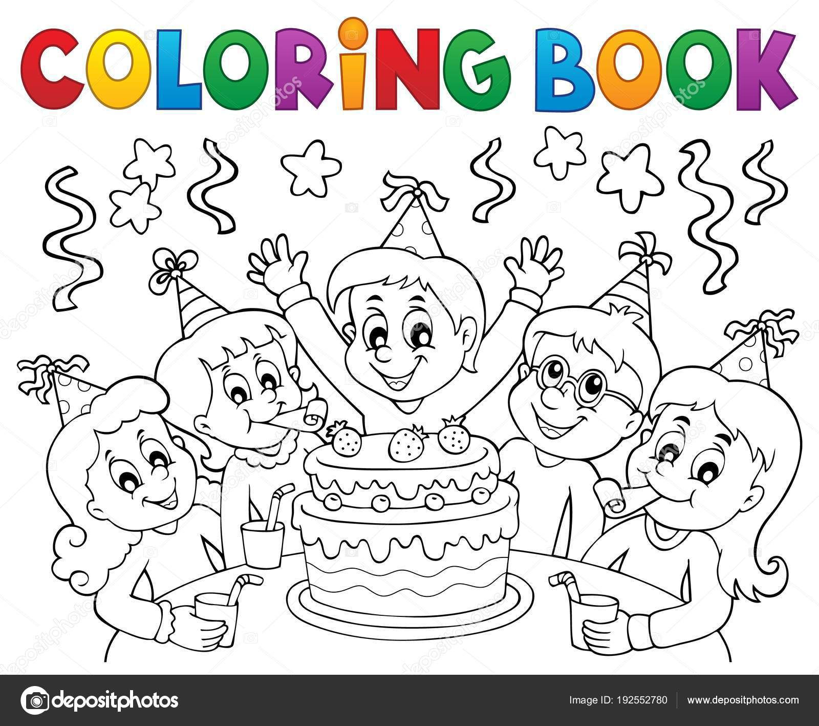 Fiesta de niños de libro para colorear tema 1 — Archivo Imágenes ...