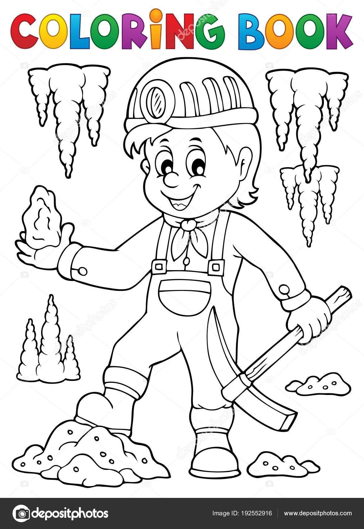 Kleurplaten Circusdieren.Kleurplaat Boek Mijnwerker Thema Afbeelding 1 Stockvector