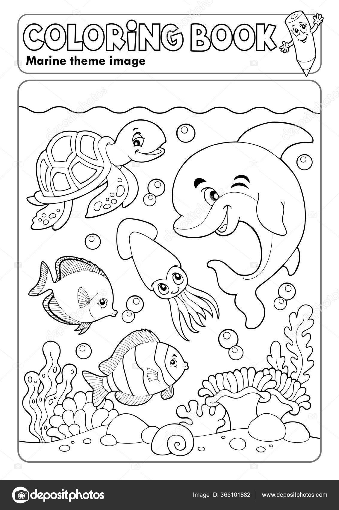 Раскраска Книги Морской Жизни Тема Векторная Иллюстрация ...