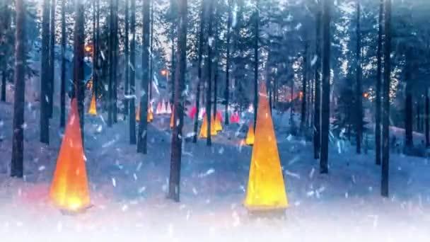 Zimní scéna s baterky a sníh