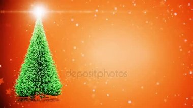 Merry Christmas card: Christmas tree with light snowflakes