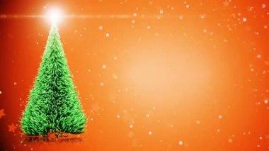 Boldog karácsonyi üdvözlőlap: karácsonyfa, könnyű hópelyhek