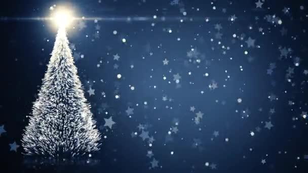 Image Brillante De Noel.Carte De Voeux Joyeux Noel Sapin De Noel Avec Brillante Lumiere Tombant De Flocons Et Etoiles