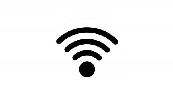 schwarzes Wifi-Symbol auf weißem Hintergrund