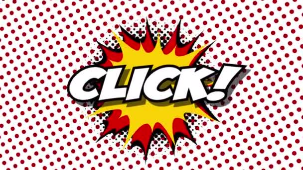 Click Word In Speech Balloon In Comic Style Animation Stock