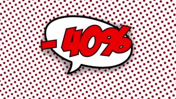 40 percent discount text in speech balloon