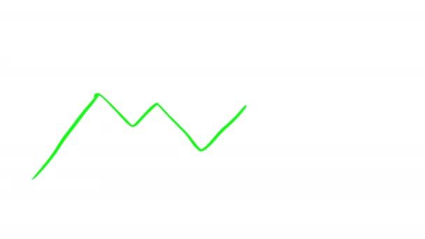 Kunstwerk Animation des fallenden Diagramms, gezeichnete Animation der fallenden Grafik