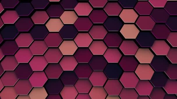 3D-Renderanimation, abstrakte bunte Sechsecke geometrische Oberfläche mit Hintergrundbeleuchtung