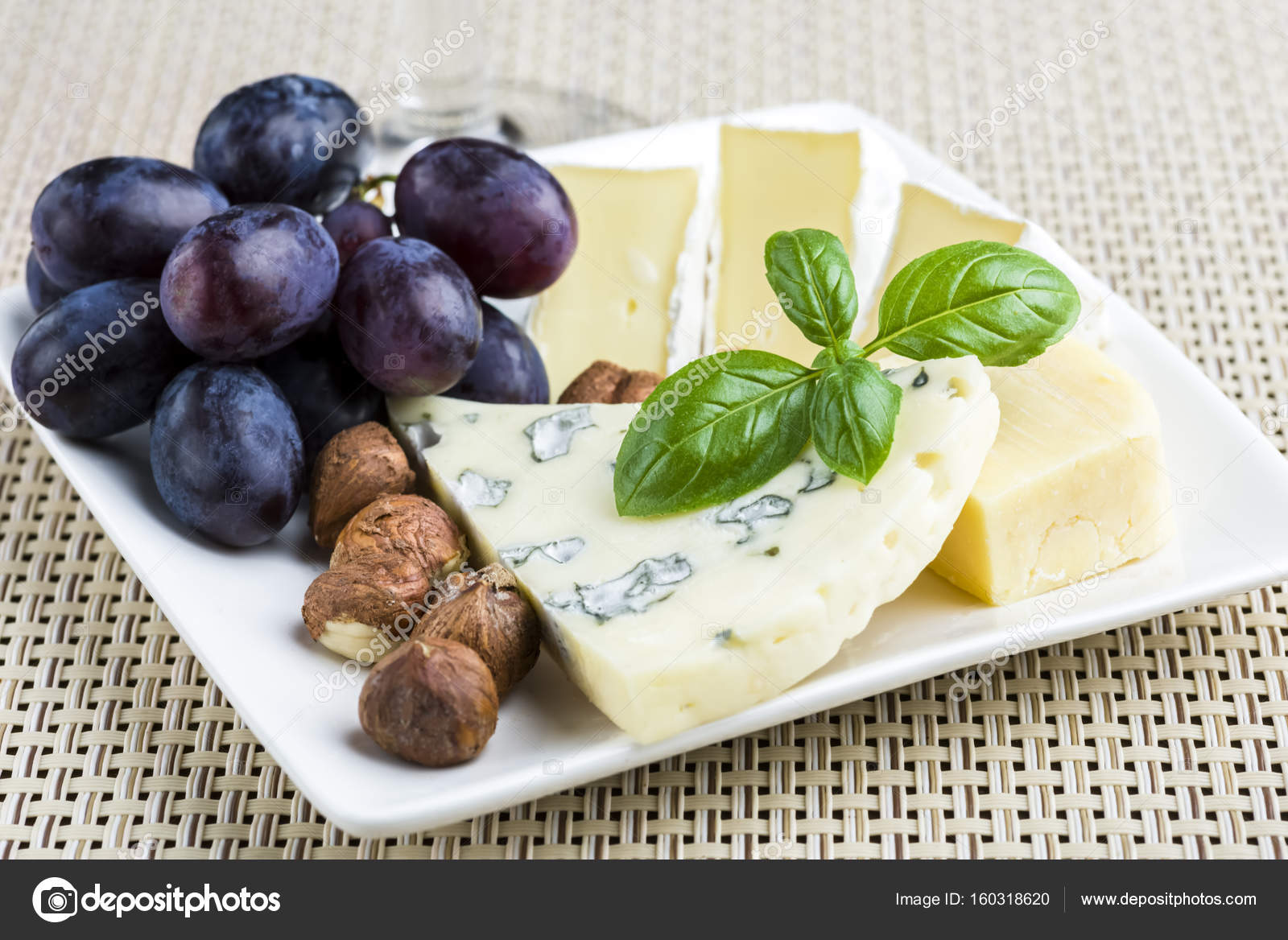 Appetizers - small plate of blue cheese camembert cheese grapes and walnuts \u2014 Photo by rlat28 & Small plate of cheese and fruit \u2014 Stock Photo © rlat28 #160318620