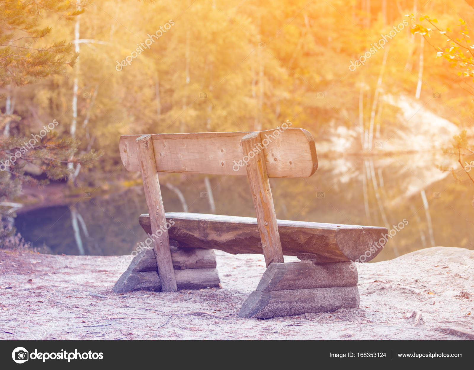 Remarkable Wooden Bench On Lake Stock Photo C Massonforstock 168353124 Machost Co Dining Chair Design Ideas Machostcouk