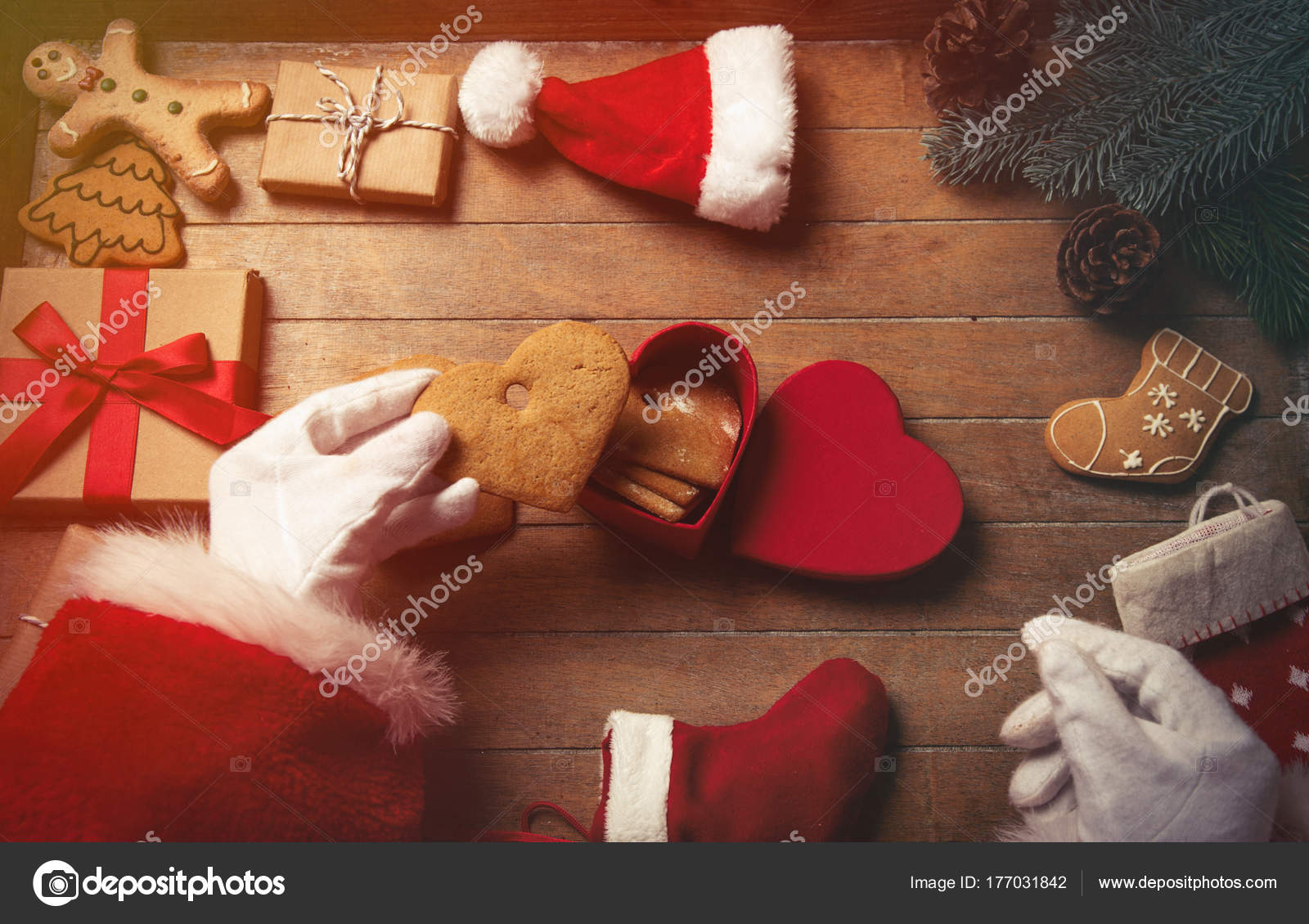 Santa Claus Wrapping Christmas Gifts Cookies Wooden Background Send ...