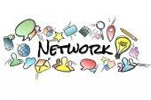 Název sítě izolována na pozadí a uprostřed multimed