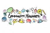 Společenství manažer titul izolované na pozadí a uprostřed b