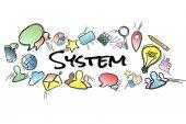 Název systému na pozadí a uprostřed izolována multimedi
