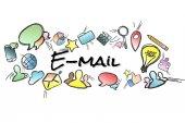 Název e-mailu na pozadí a uprostřed izolována multimedi