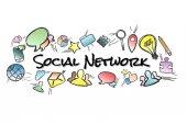 Název sociální sítě izolované na pozadí a uprostřed m