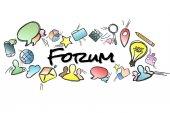 Název fóra izolované na pozadí a uprostřed Multimedia