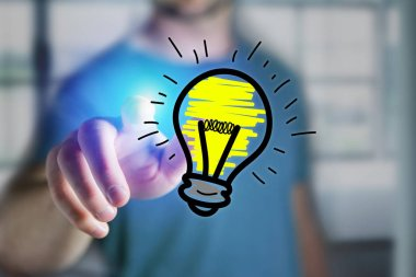 Man finger touching a hand drawn bulb lamp icon on a futuristic