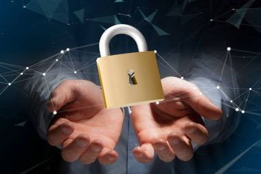 Padlock security connection isolated on a color background - 3d