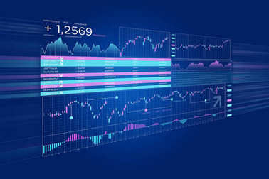 Stock exchange trading data information isolated on a uniform ba