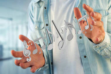 View of 3d render music notes on a futuristic interface