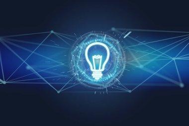 View of a Bulb lamp idea concept icon on a futuristic interface