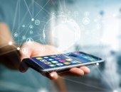Fotografie Pohled na technologie uprostřed název zařízení, jako je smartphone, tabletu nebo notebooku - Internet a komunikační koncept