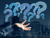 Fotografie View of Blue question marks displayed on a futuristic interface - 3d rendering