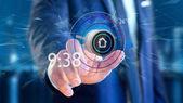 Fotografie Pohled na podnikatel, stiskněte a přidržte tlačítko Inteligentní domácí automatizace aplikace - 3d vykreslování