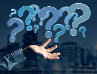 View of Blue question marks displayed on a futuristic interface - 3d rendering