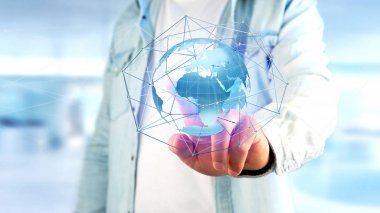View of a Businessman holding a Connected network over a earth globe concept on a futuristic interface - 3d rendering
