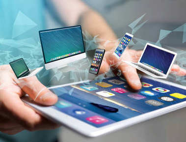View of a Computer and devices displayed on a futuristic interface - Multimedia and technology concept