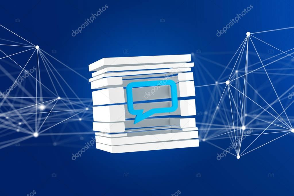 View of 3D rendered Blue Email symbol displayed in sliced cube