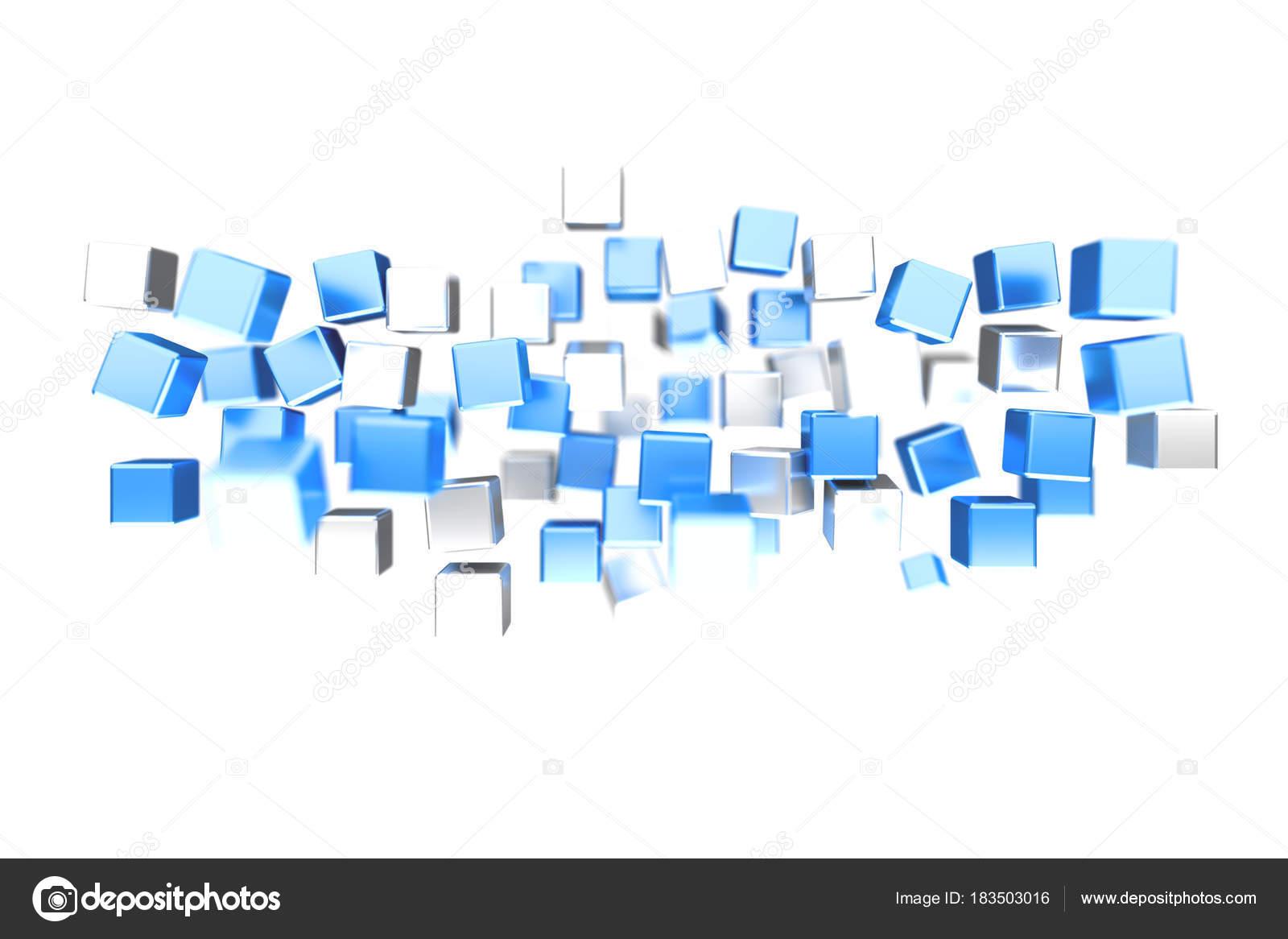 e025b11d8f Kilátás a 3d rendering kék és fehér színű háttér kocka — Fotó szerzőtől ...