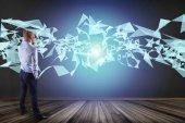 Fotografie Geschäftsmann vor Wand mit abstrakten Dreieck angezeigt auf futuristische Schnittstelle mit Linie und Punkte - Technologie und Anschluss-Konzept