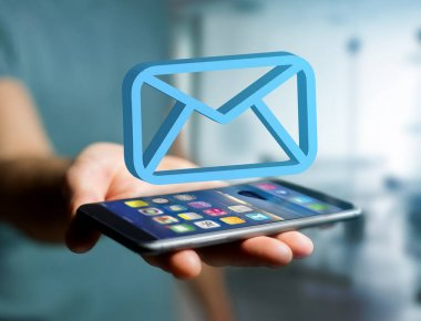 View of a Blue Email symbol displayed on a futuristic interface - Message and internet concept