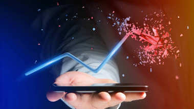 Businessman using smartphone with Financial arrow going up and explosing at the end - 3d rendering
