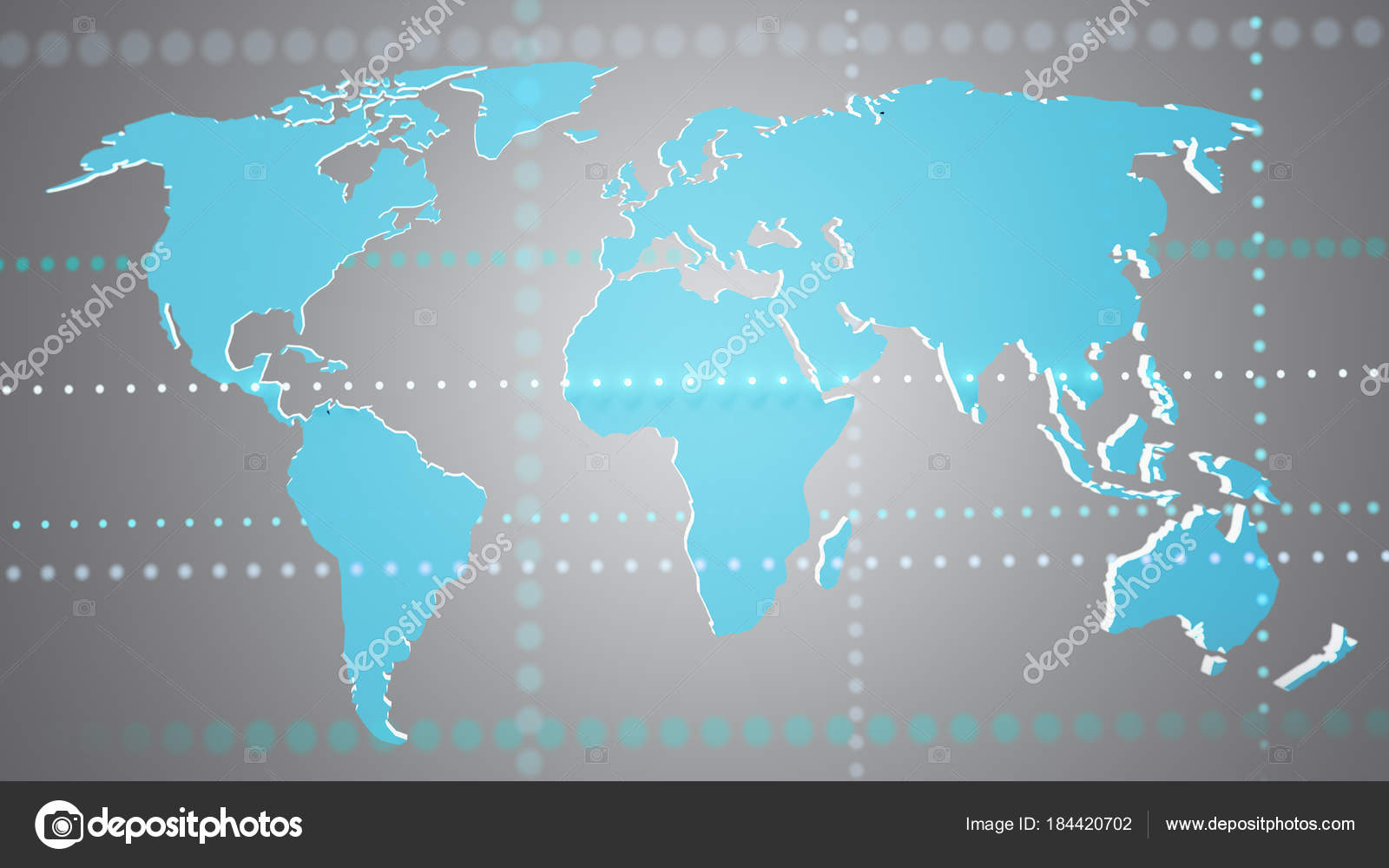 World Map 3d View.View Connected World Map Uniform Background Render Stock Photo