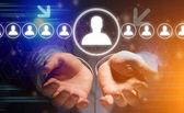 Pohled na koncept profesionálního vztahu kontaktu s ikonou kolem - koncepce sítě