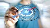 Fotografie Názor člověka drží navigační kompas - 3d vykreslení