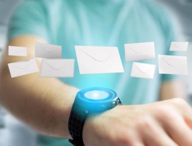 View of Envelope message displayed on a futuristic email interface - 3d rendering