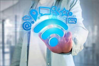 View of a wifi symbol connection surrounded by multimedia and internet application logo - 3d rendering