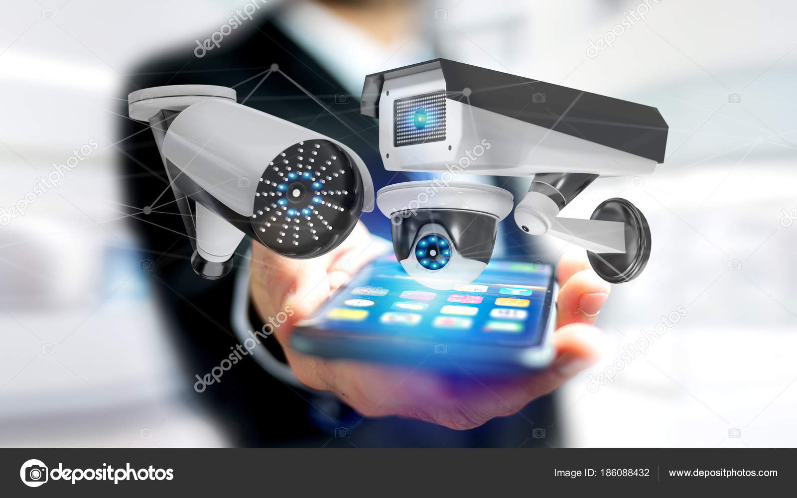 View Businessman Using Smartphone Security Camera System Network Connection  — Stock Photo 3991f17a18