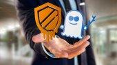 Fényképek Nézd üzletember gazdaság összeomlást és a kísértet processzor támadás a hálózati kapcsolat