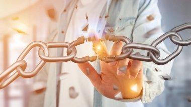 Weak link of broken chain exploding