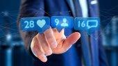 Fotografie Pohled na podnikatel drží jako, následovník a upozornění zprávy o sociální sítě - 3d vykreslení