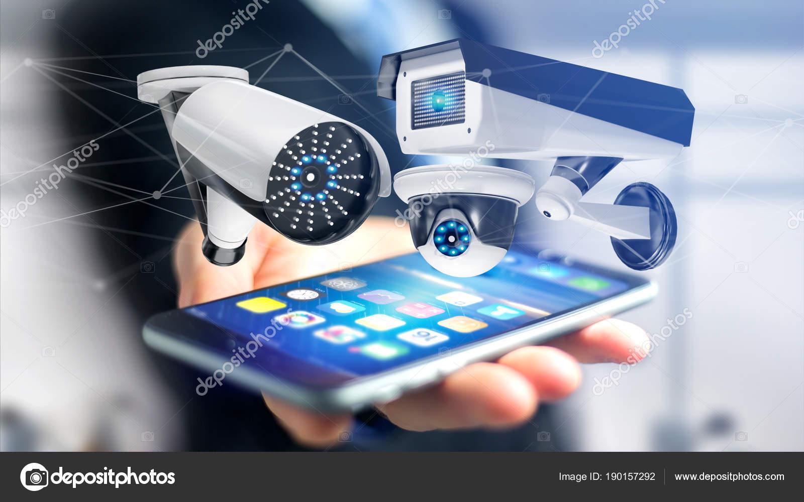 Visão Homem Usando Smartphone Com Conexão Rede Sistema Câmeras Segurança —  Fotografia de Stock 12a08ad615