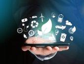 Fotografia Visualizzazione dellinterfaccia ecologico di tecnologia con le icone visualizzate sulla interfaccia tecnologia