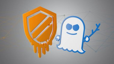 View of meltdown and spectre processor attack with network connection stock vector